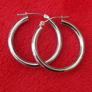 Solid 14K White Gold Hoop Earrings